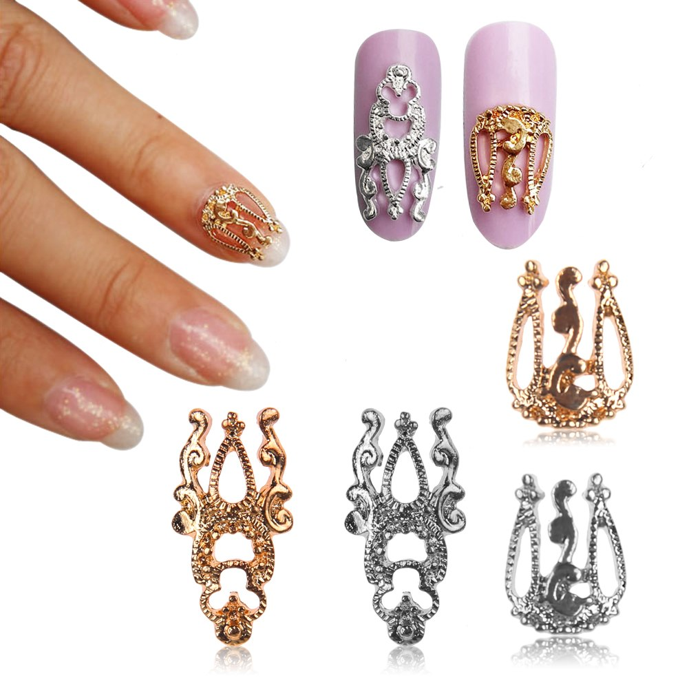 10pcs 3d Diy Alloy Gold Silver Hollow Out Nail Art Stickers Slices