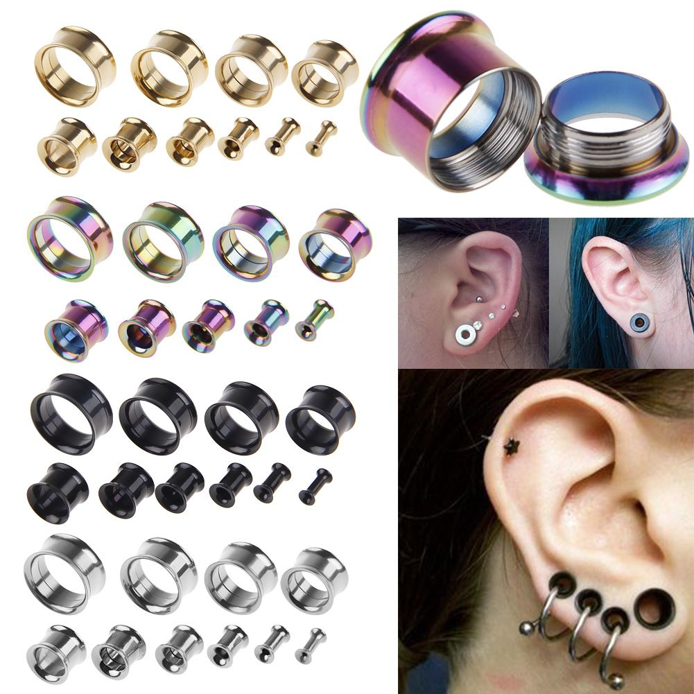 12mm Rainbow  jamaican reggae Stretcher Earring Tunnel Ear plug Expander 6mm