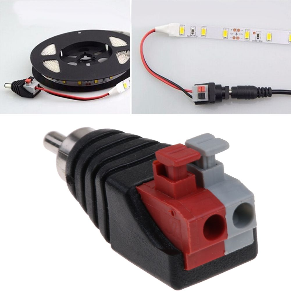 Phono Speaker Wire cable to Audio male RCA Adapter Connector LED ...