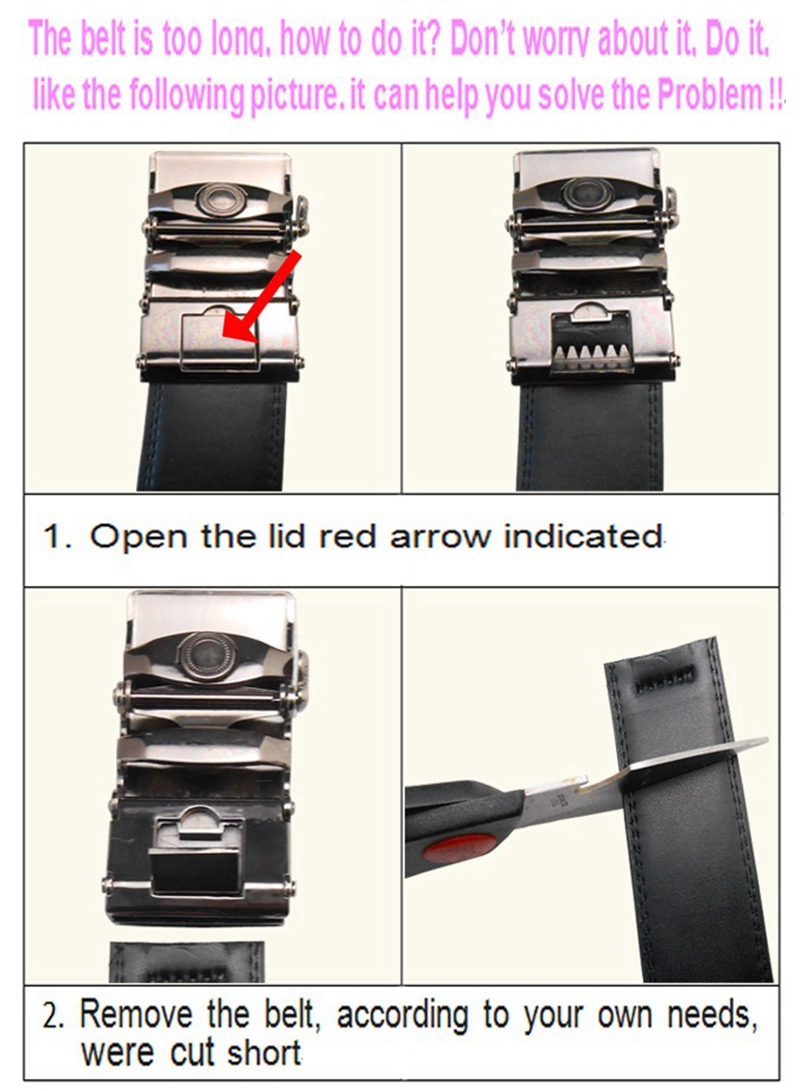 genuine leather men no automatic buckle strap waist belts. Black Bedroom Furniture Sets. Home Design Ideas