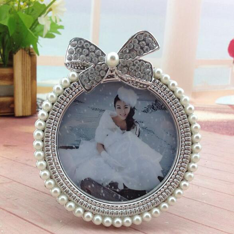 6 Crystal Pearl Photo Picture Frame Diamond Bowknot