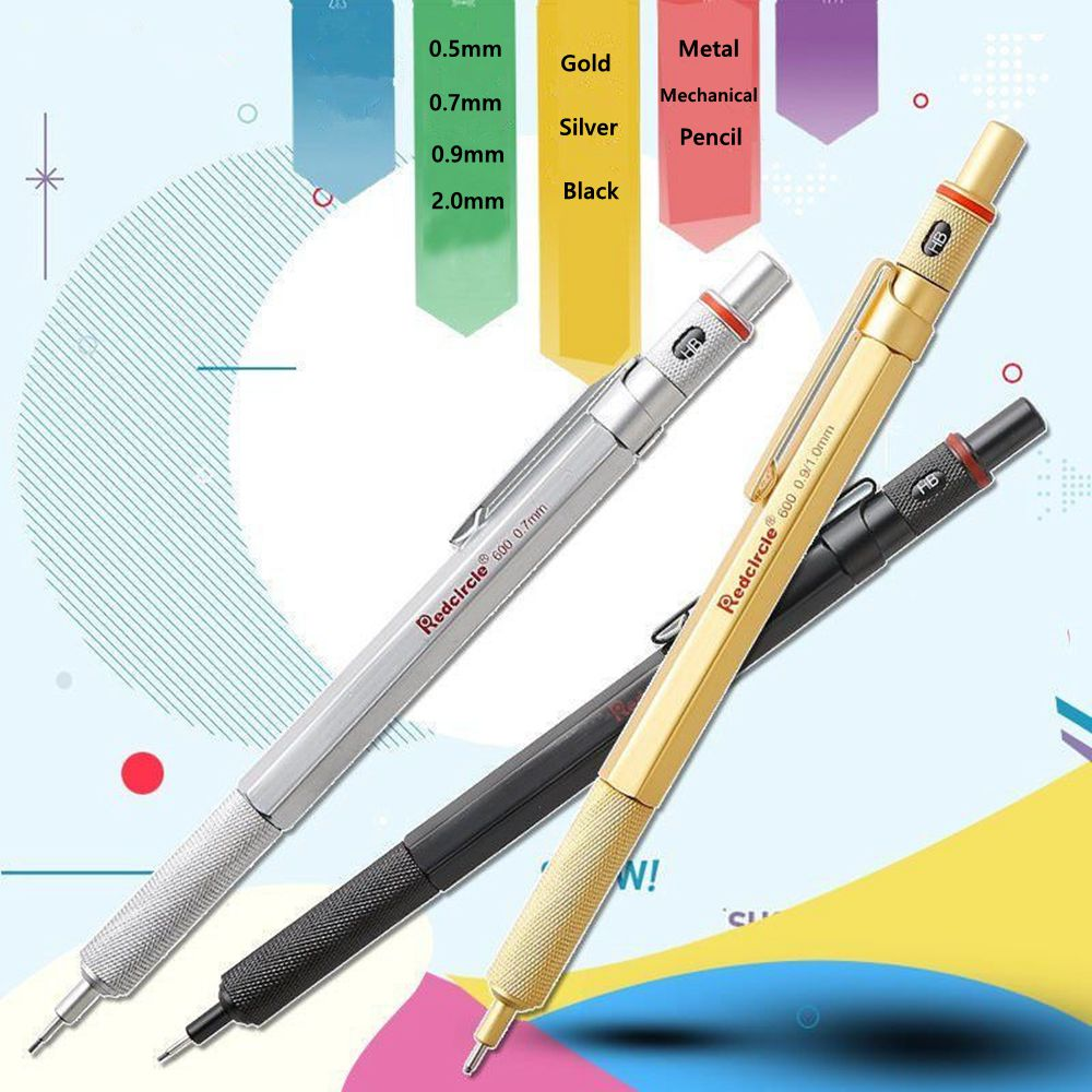 New 2.0mm 0.9//1.0mm 0.7mm 0.5mm Drafting Metal Mechanical Pencil For Drawing