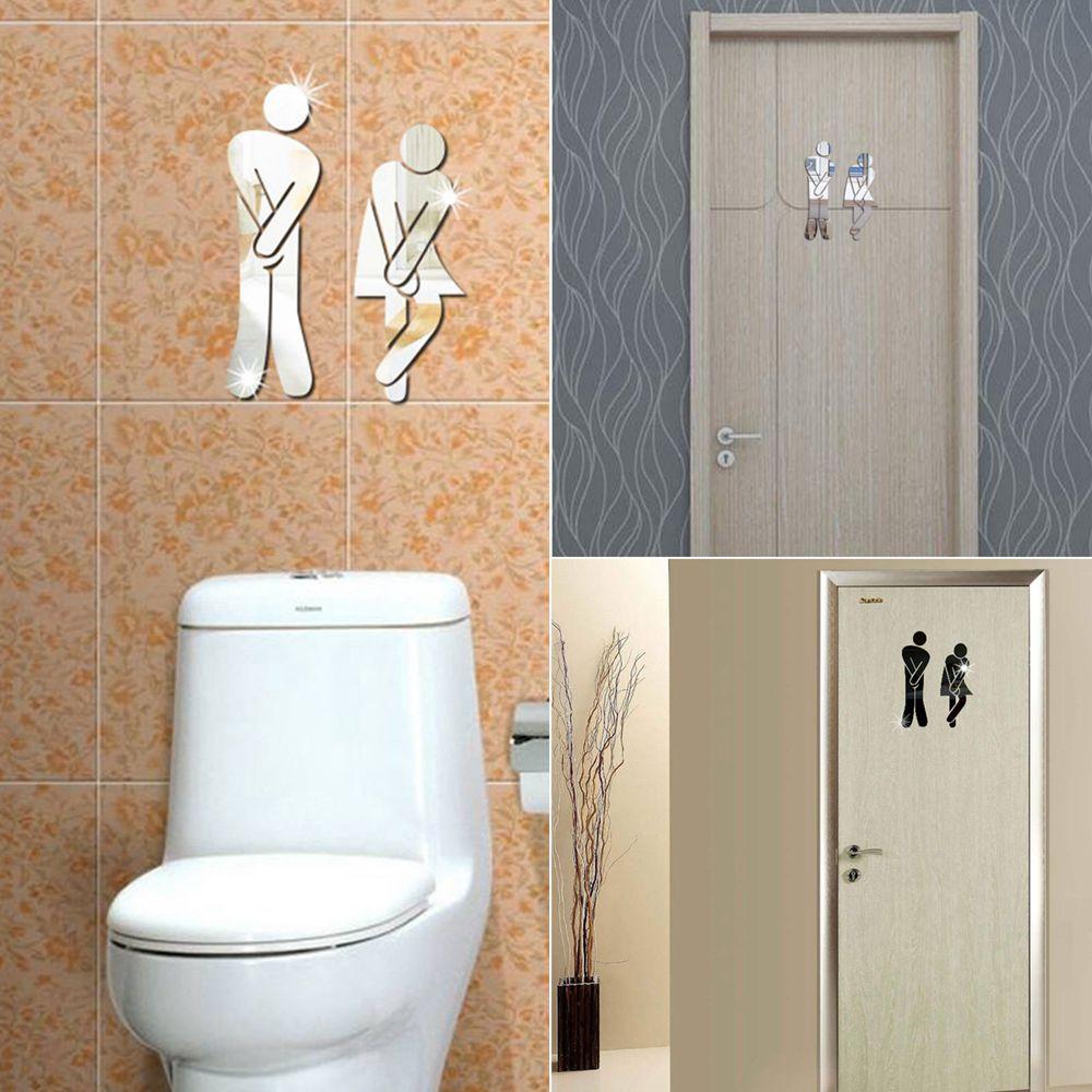 DIY Removable Waterproof WC Bathroom Toilet Door Decal Wall Sticker Home Decor