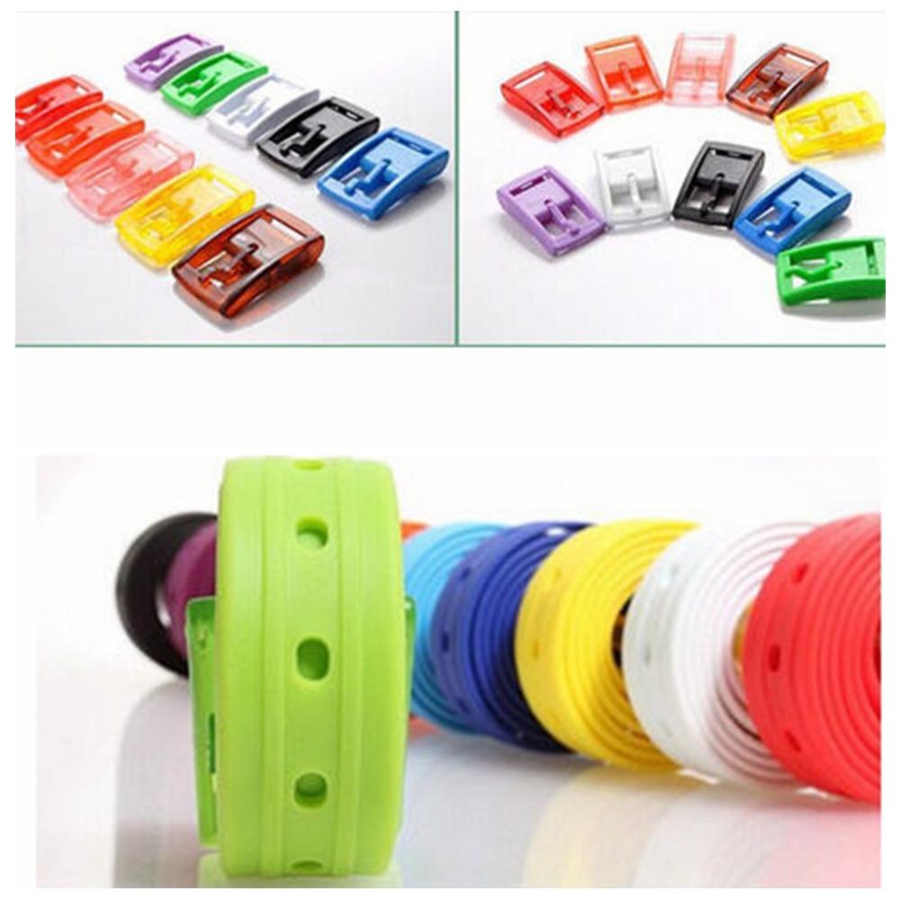 Men/'s Women/'s Silicone Belt Rubber Plastic Buckle Plain Leather Style Adju N5A1