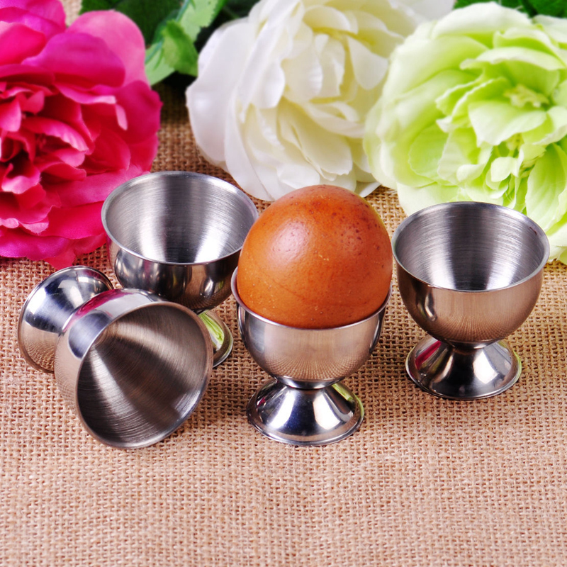 4pcs Soft Boiled Egg Cups Holder Tabletop Cup Kitchen Stainless Steel Tool Set