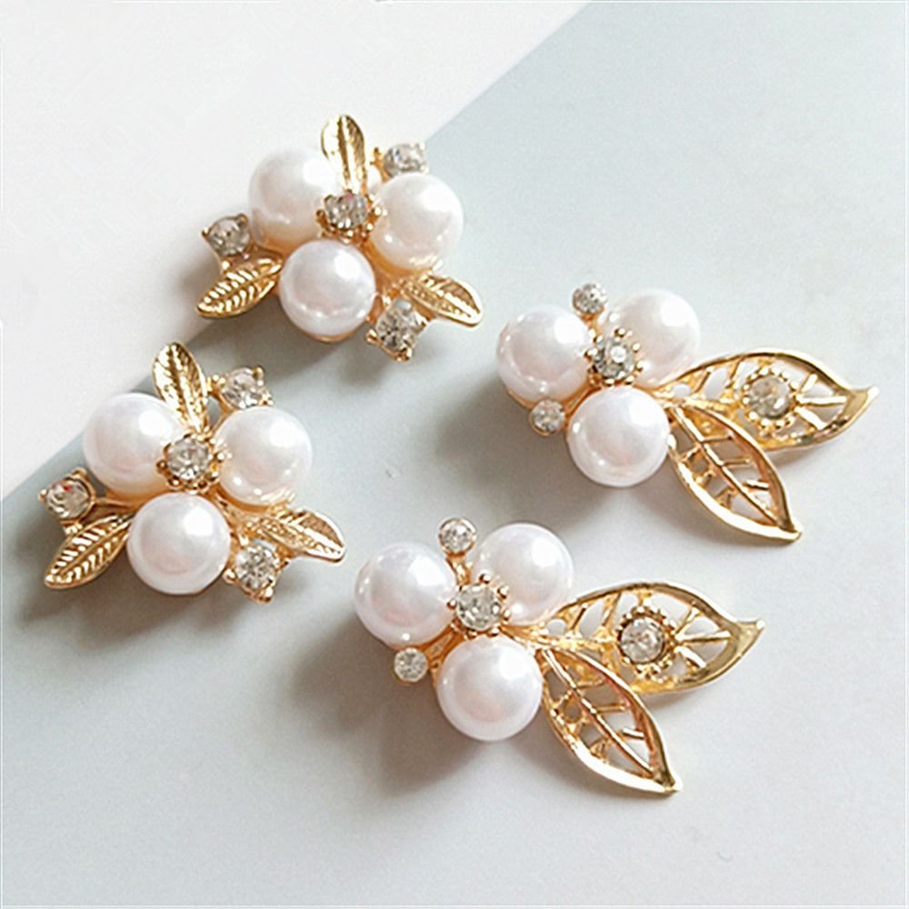 5 Gold Leaf Pearl Beads Buttons Flatback Embellishments DIY Hair Accessories