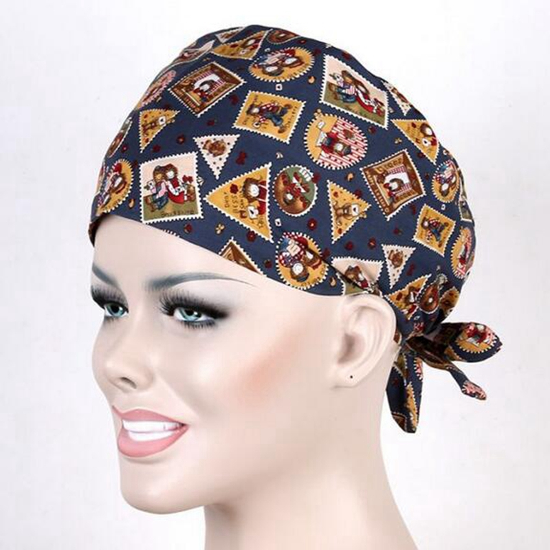 New 9 Kinds Pattern Flower Printing Scrub Cap Medical Surgical ...