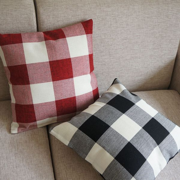 Red Plaid Throw Pillow Cover : Red Black Checked Plaid Decor Throw Pillow Case Square Cushion Cover 45cm 18