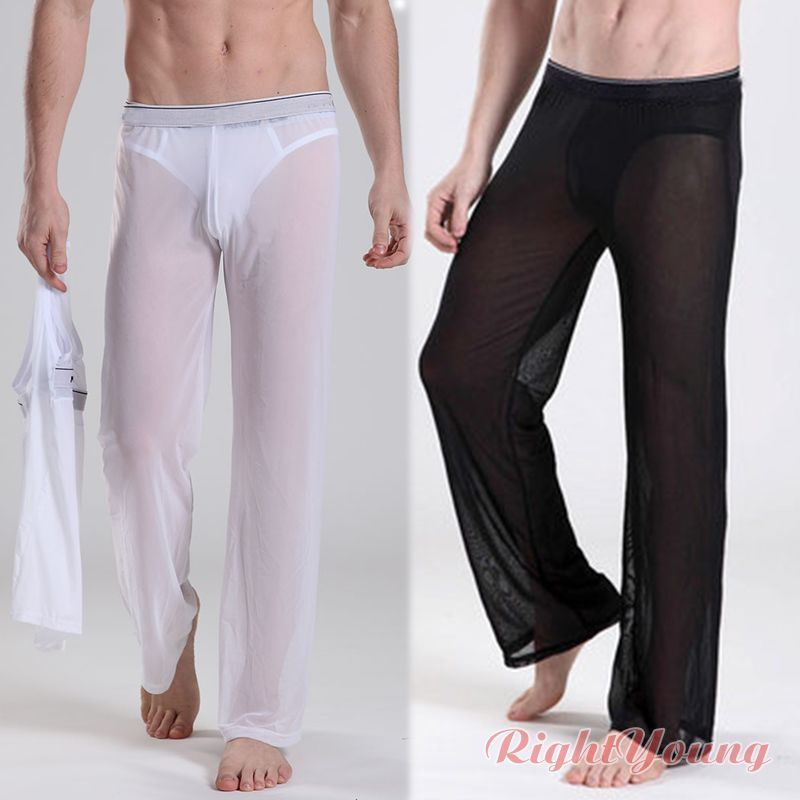 Men Sexy Mesh Sheer Lounge Pants Black White Yoga Sports