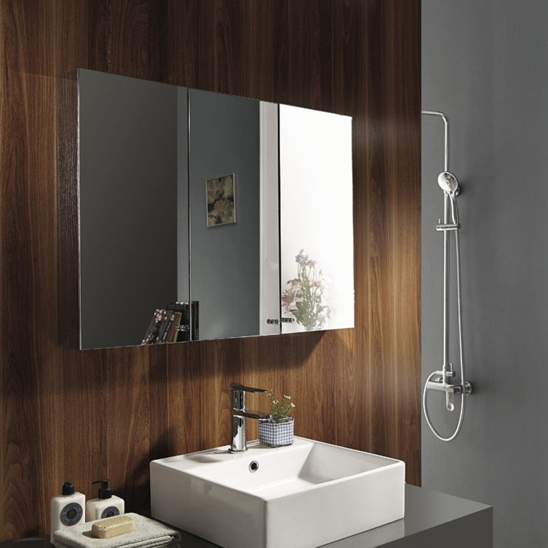 triple mirror bathroom cabinet stainless steel wall mounted bathroom storage cabinet 27317