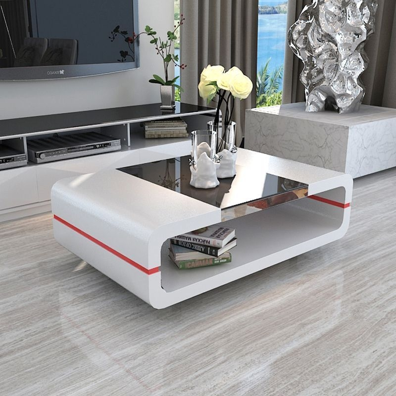 White High Gloss Coffee Table Side Table With Black Glass Top Living Room
