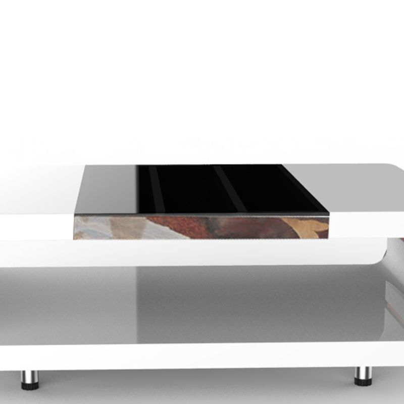 New Modern High Gloss White Rectangle Coffee Table Living: WHITE HIGH GLOSS COFFEE TABLE SIDE TABLE WITH BLACK GLASS