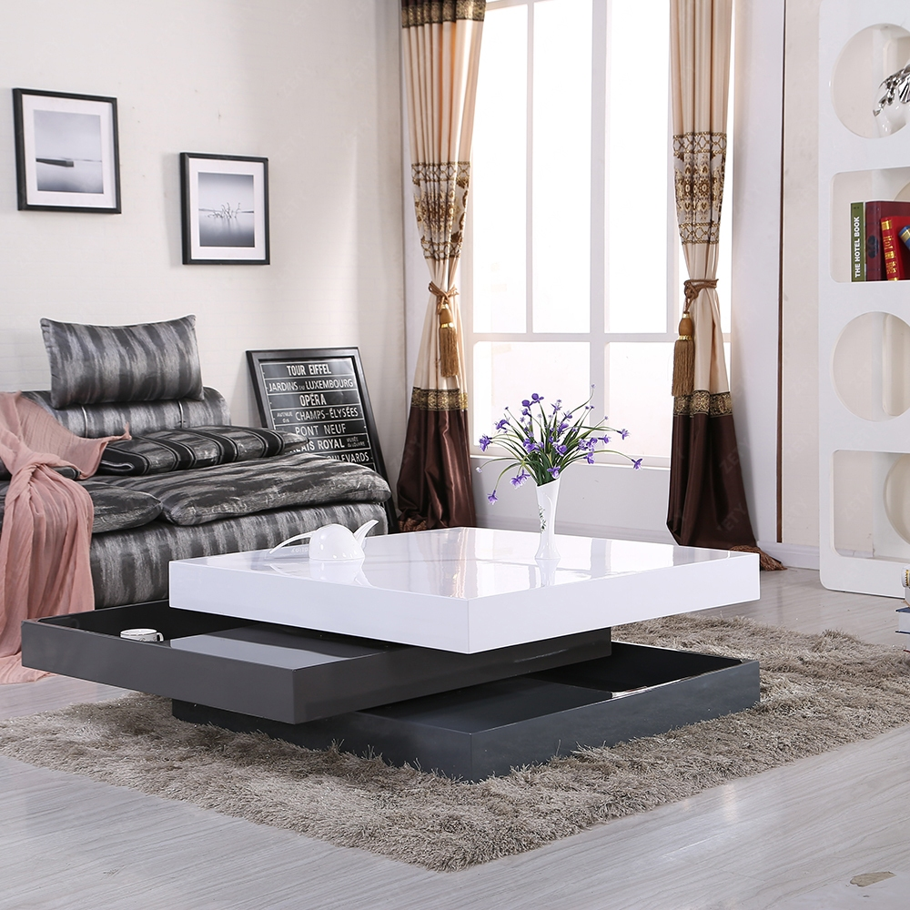 Annika White Gloss Coffee Table: HIGH GLOSS WHITE & GRAY SQUARE STORAGE ROTATABLE COFFEE