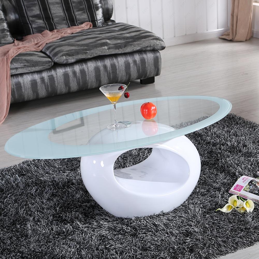 Designer Oval Tempered Black White Glass Coffee Table Modern