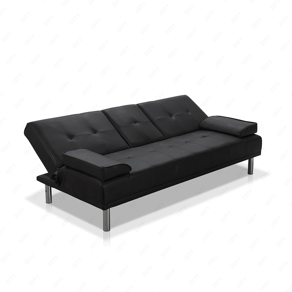 Bn Design Black Faux Leather Fold Down Sofa Bed Luxury