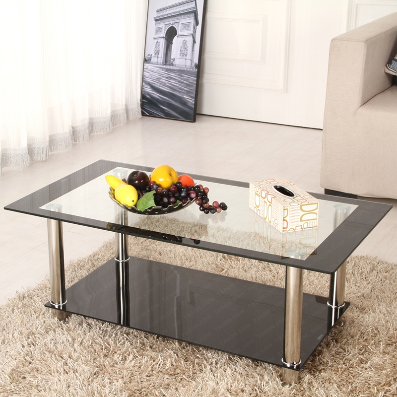 Rectangle Clear&Black Glass Coffee Table With Shelf And