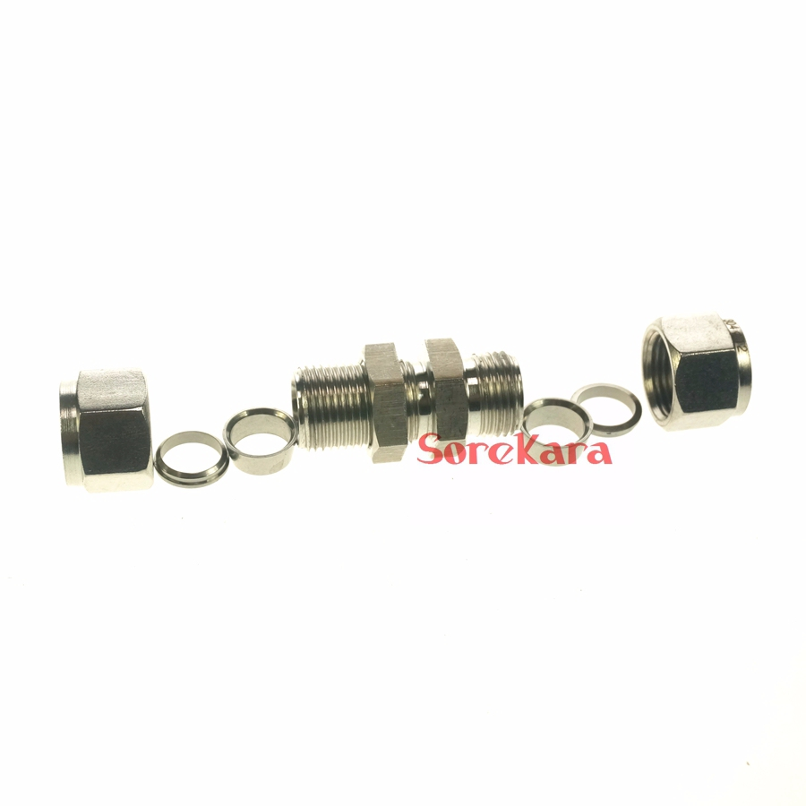 Stainless steel bulkhead compression fitting connector