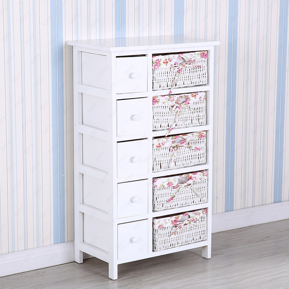 Bedroom storage dresser 5 drawers with wicker baskets - Bedroom storage cabinets with drawers ...