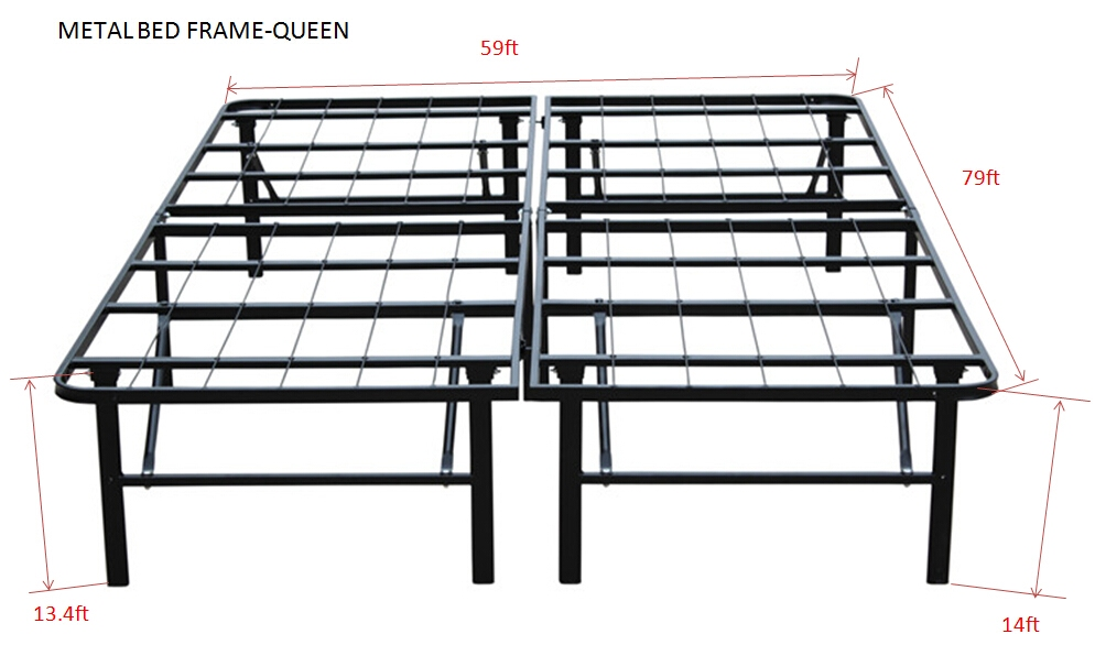 Steel Bed Frames Queen Metal Bed Frames Queen Size Extra: Premium Queen Size Bi-Fold Folding Platform Metal Bed