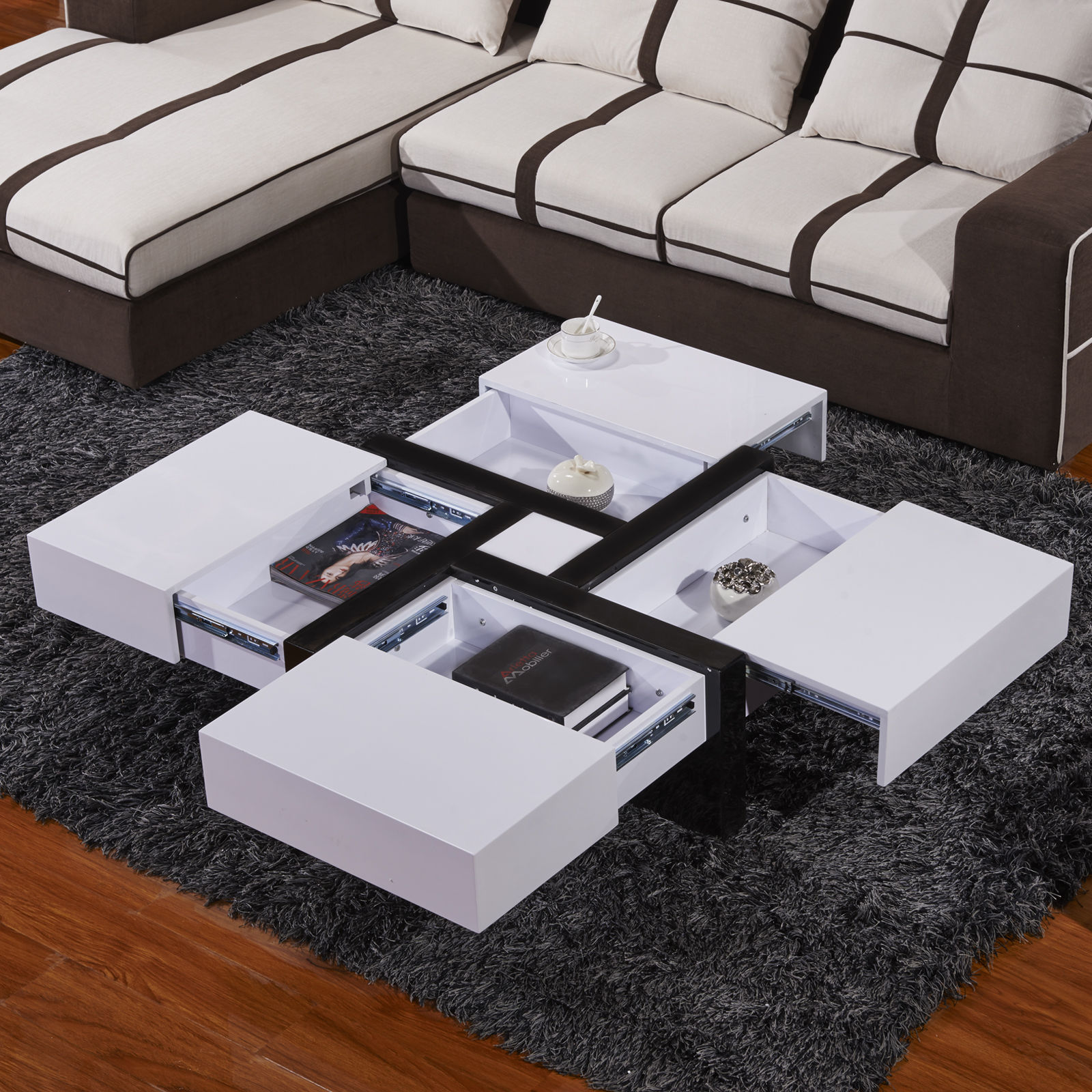NEW DESIGN HIGH GLOSS WHITE COFFEE TABLE WITH 4 DRAWERS BUILT IN