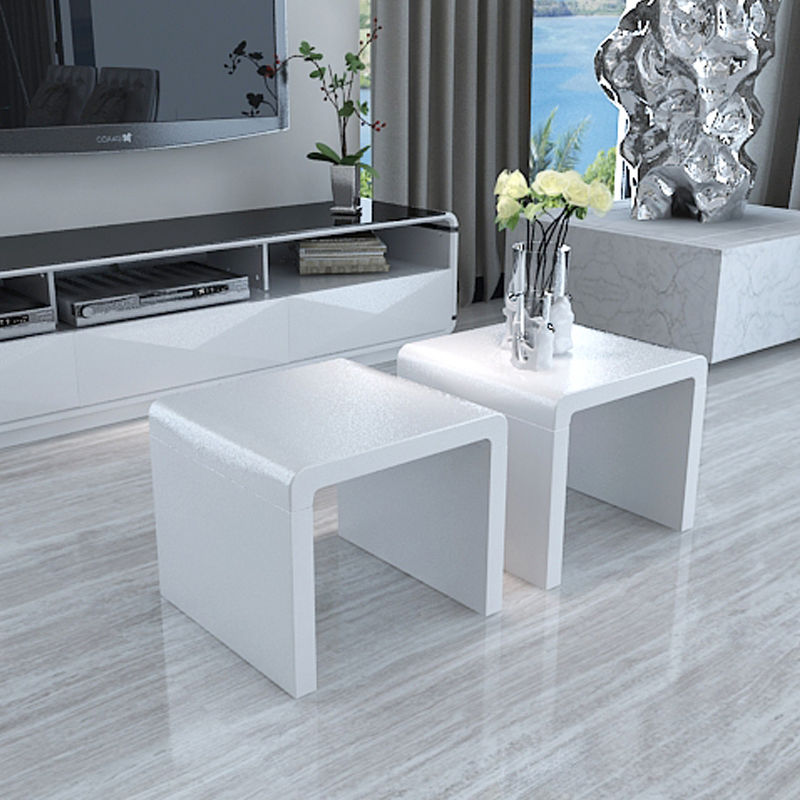 White High Gloss Side End Square 2 Seats Of Coffee Table