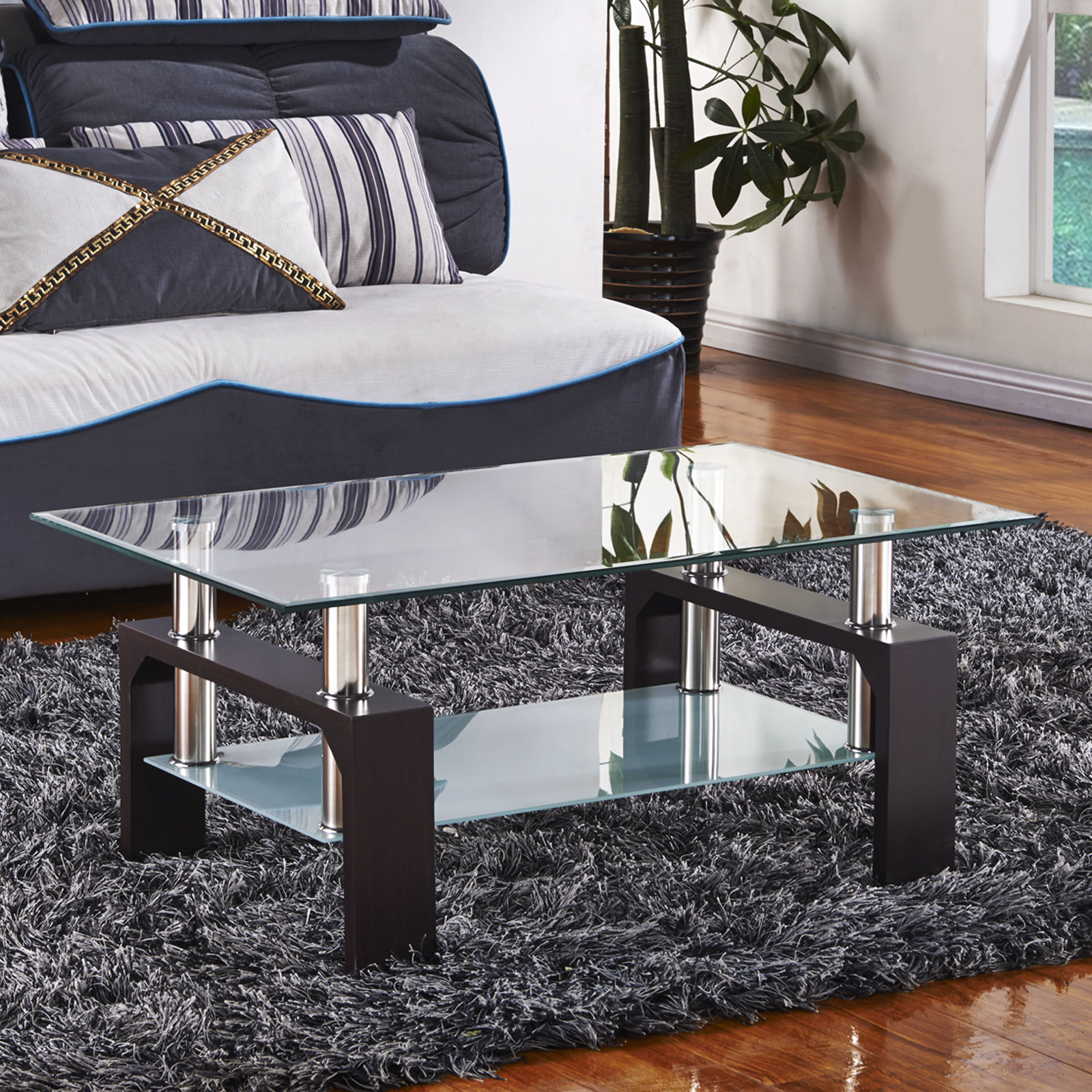Design Glass Coffee Table Rectangular Black White Red