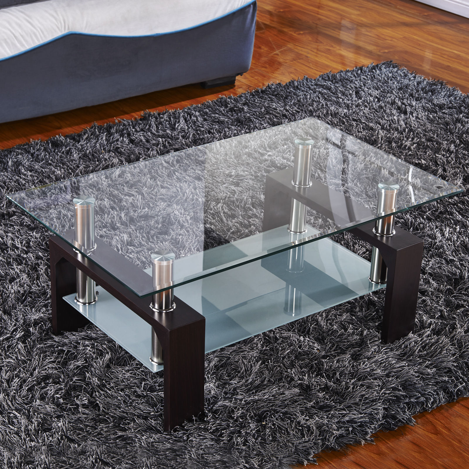 Kenwell Glass Rectangular Coffee Table Shelf Chrome Wood