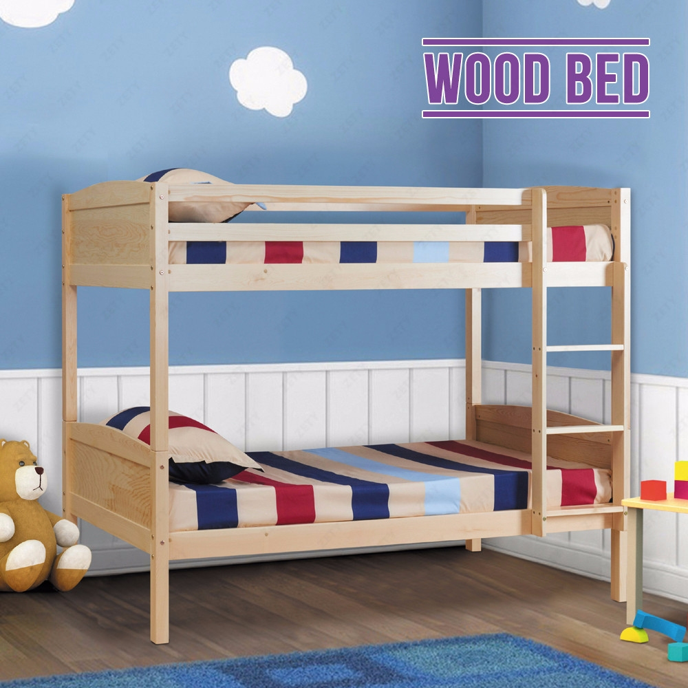 2x3ft solid pine wood single bunk bed frame splits into 2 for Single bunk bed frame