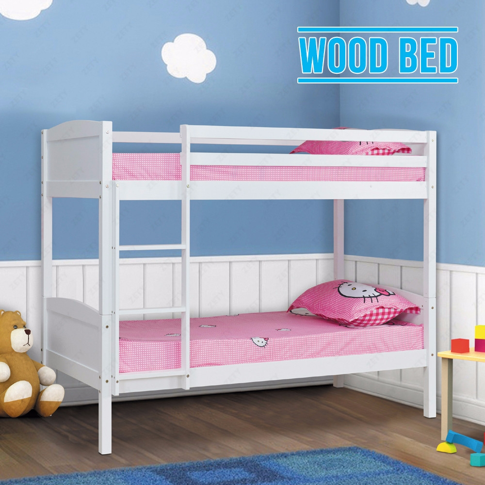 3ft white solid pine wood bunk bed frame 2 single bed in for Single bunk bed frame