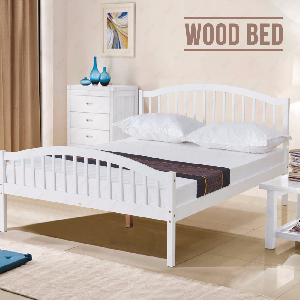 4ft6 white solid pine wood double bed frame natural pine - White and pine bedroom furniture ...
