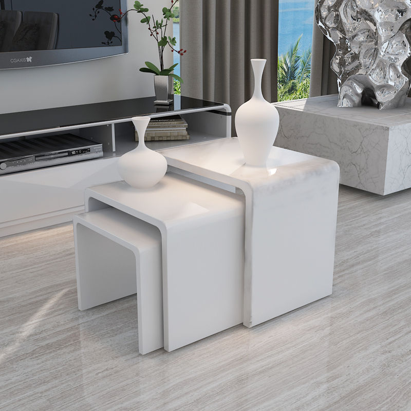 White Modern High Gloss Nest of 3 Coffee Table Side End Table Living