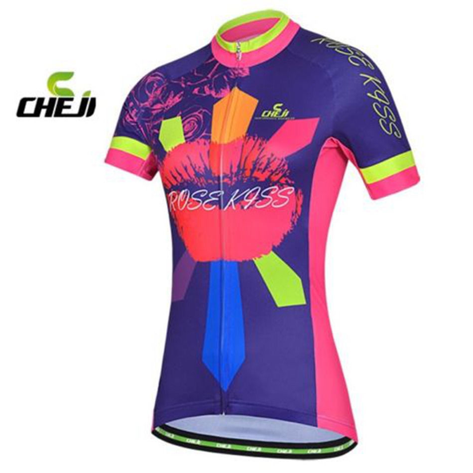Cheji Cycling Jersey Women S Mountain Bike Jersey Rose