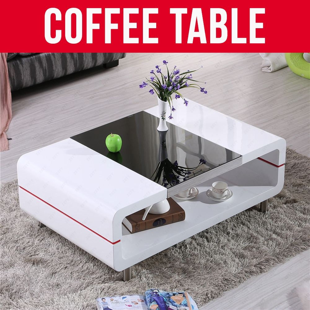 Bn Design High Gloss White Coffee Table With Side Drawers: WHITE HIGH GLOSS COFFEE TABLE SIDE TABLE WITH BLACK GLASS