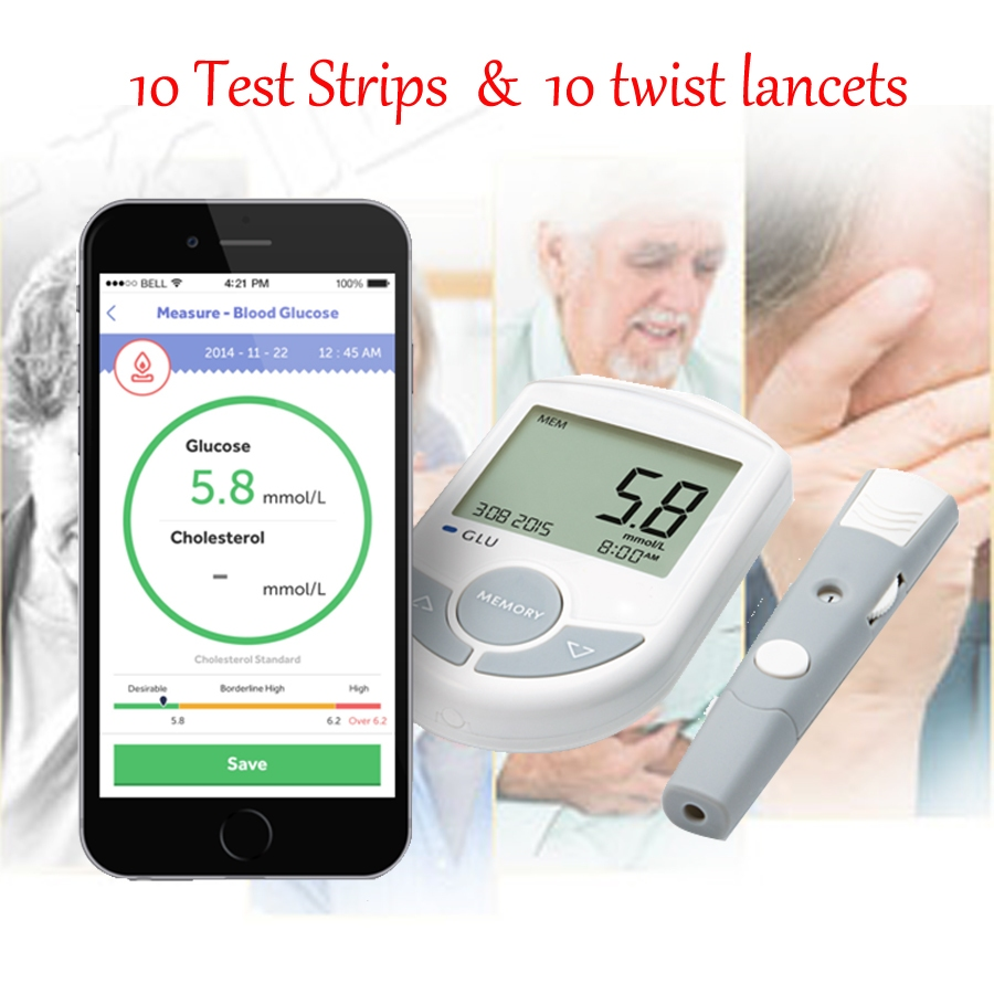 Top Bluetooth 4 0 Glucose Cholesterol 2in1 Meter Monitor