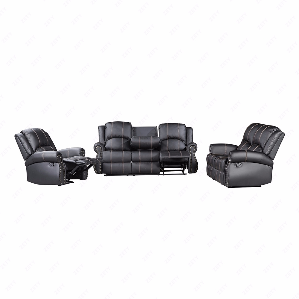 Gold Thread Sofa Set Loveseat Couch Recliner Leather Living Room