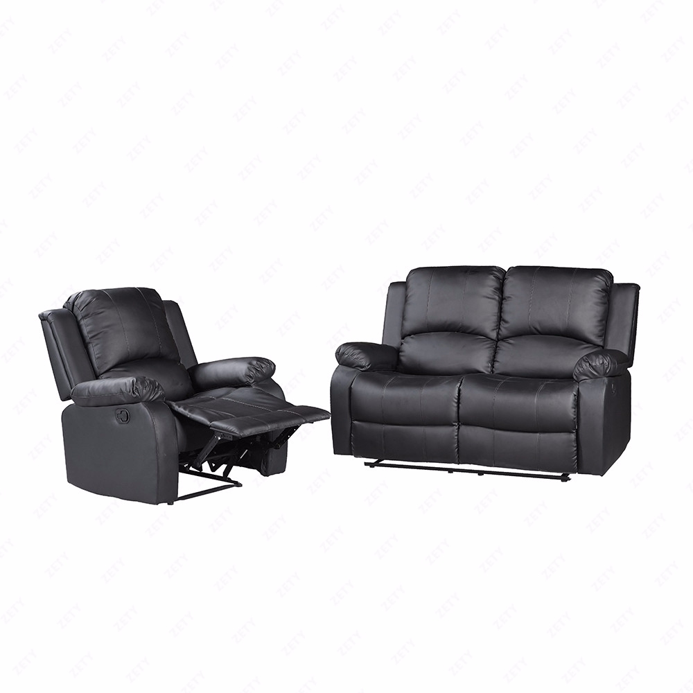 Recliner Sofa Set Loveseat Chaise Couch Black Leather