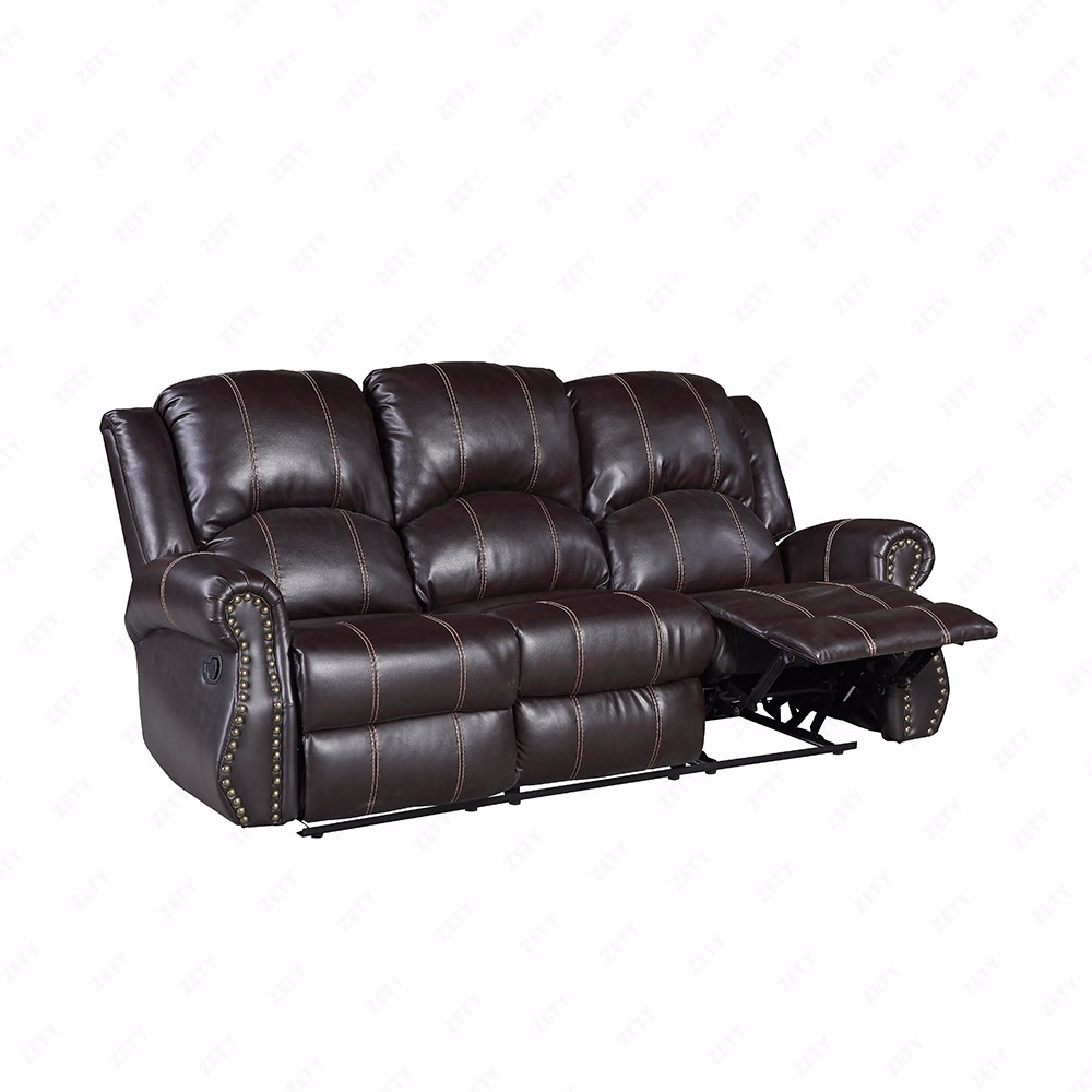Brown Leather Recliner Sofa Set: Gold Thread 3+2+1 Sofa Set Loveseat Couch Recliner Leather