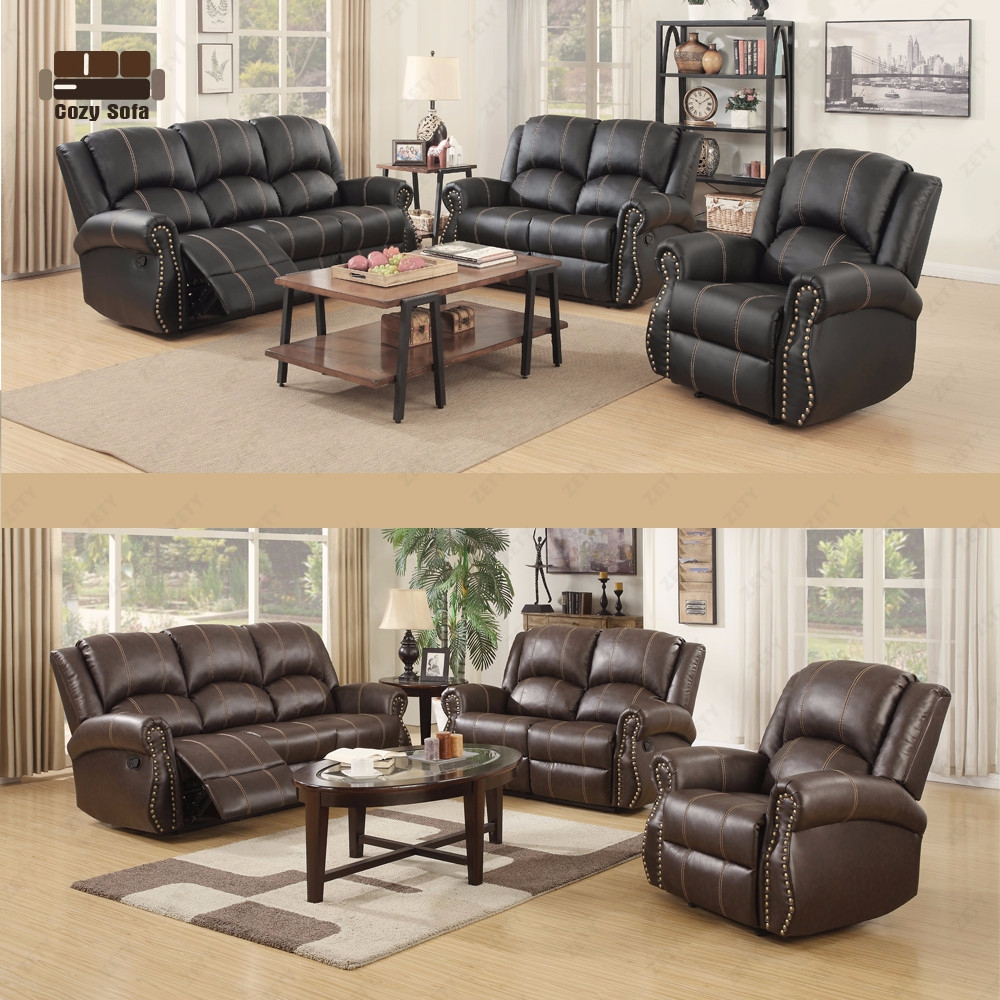 Gold Living Room Furniture: Gold Thread Sofa Set Loveseat Couch Recliner 3+2+1 Leather