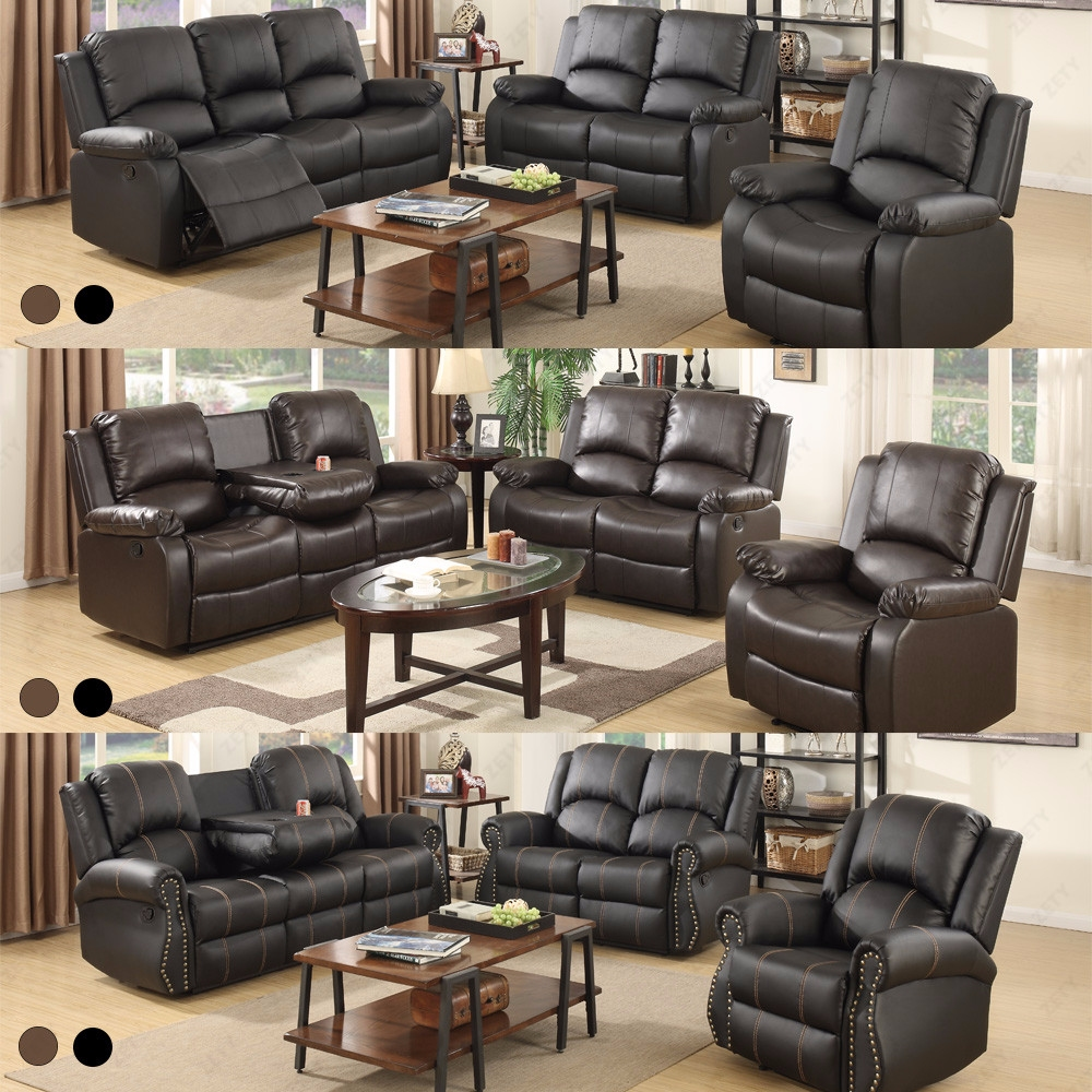 Recliner leather sofa set loveseat couch 3 2 1 seater for Leather sofa 7 seater