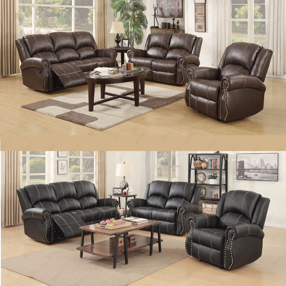 Bryce white italian leather sofa and loveseat 15814565 overstock -  Gold Thread Sofa Set Loveseat Couch Recliner 3 2 1 Leather Living Room Furniture