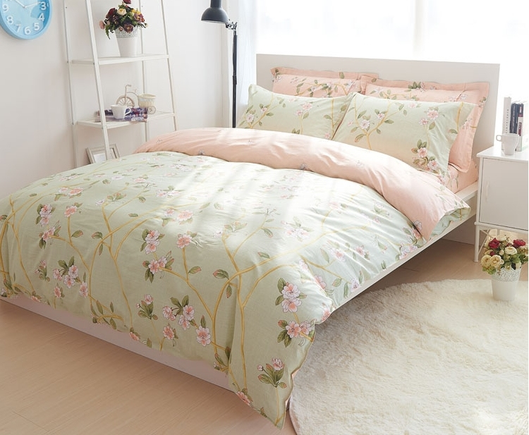 Green Duvet Quilt Cover Bedding Set Queen French Country