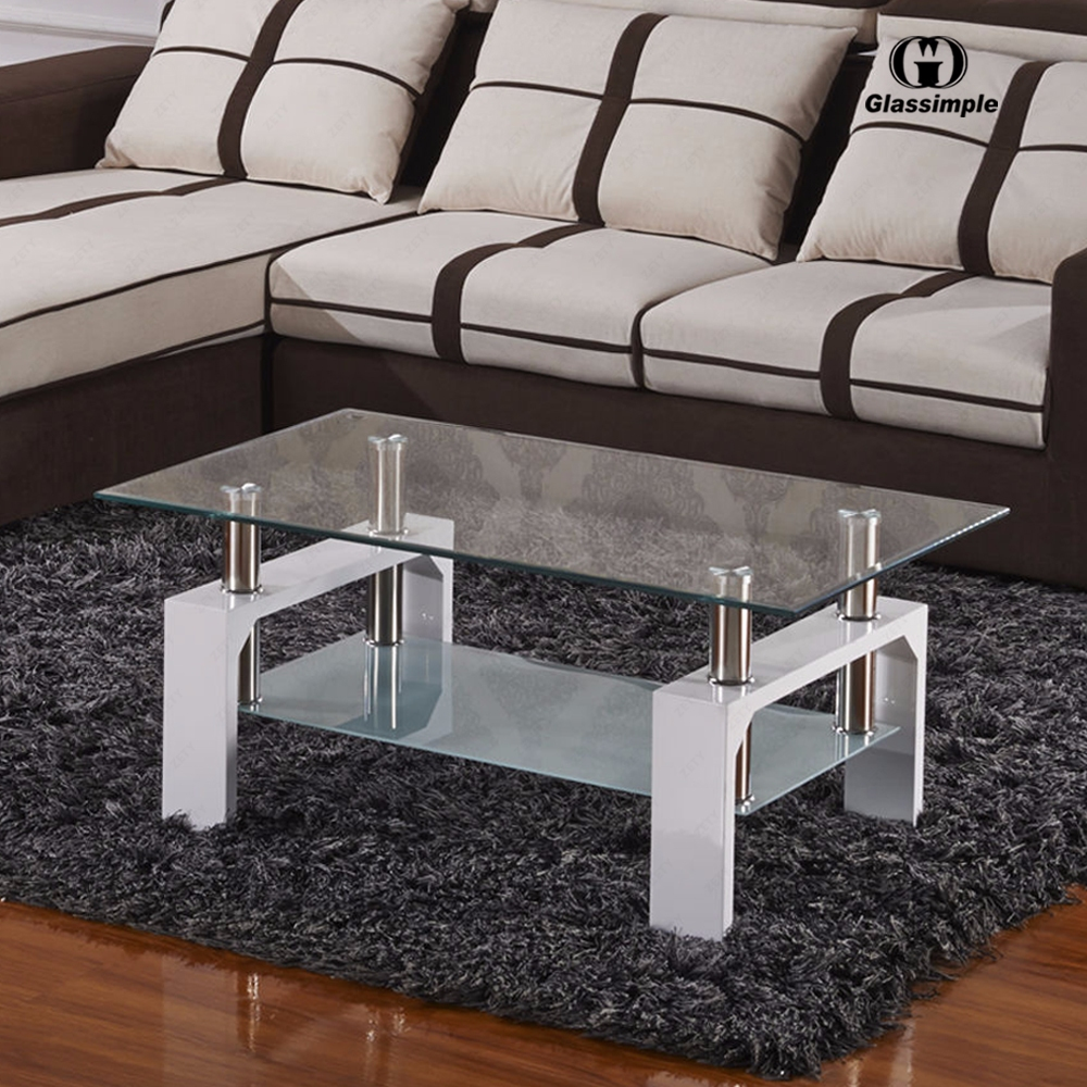 Modern white glass coffee table rectangular shelf chrome - White wooden living room furniture ...