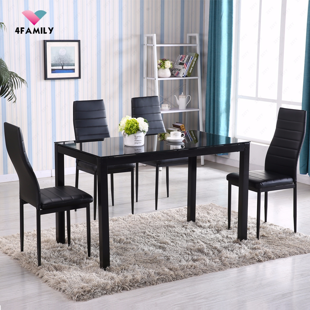 Dining Glass Table Set: 5 Piece Glass Metal Dining Table Set 4 Chairs Kitchen Room