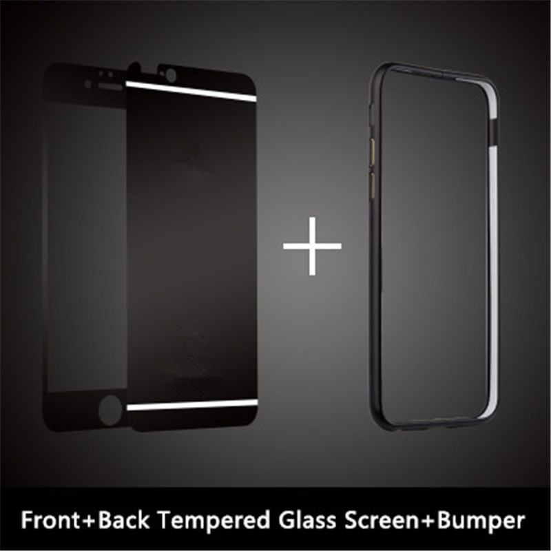 Front+Back Mirror Tempered Glass Metal Bumper Frame Case For iPhone ...