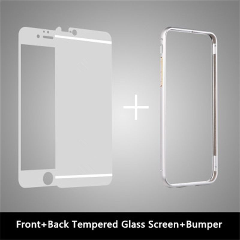 Full Cover Front Back Mirror Tempered Glass Metal Bumper Frame Case For IPhone