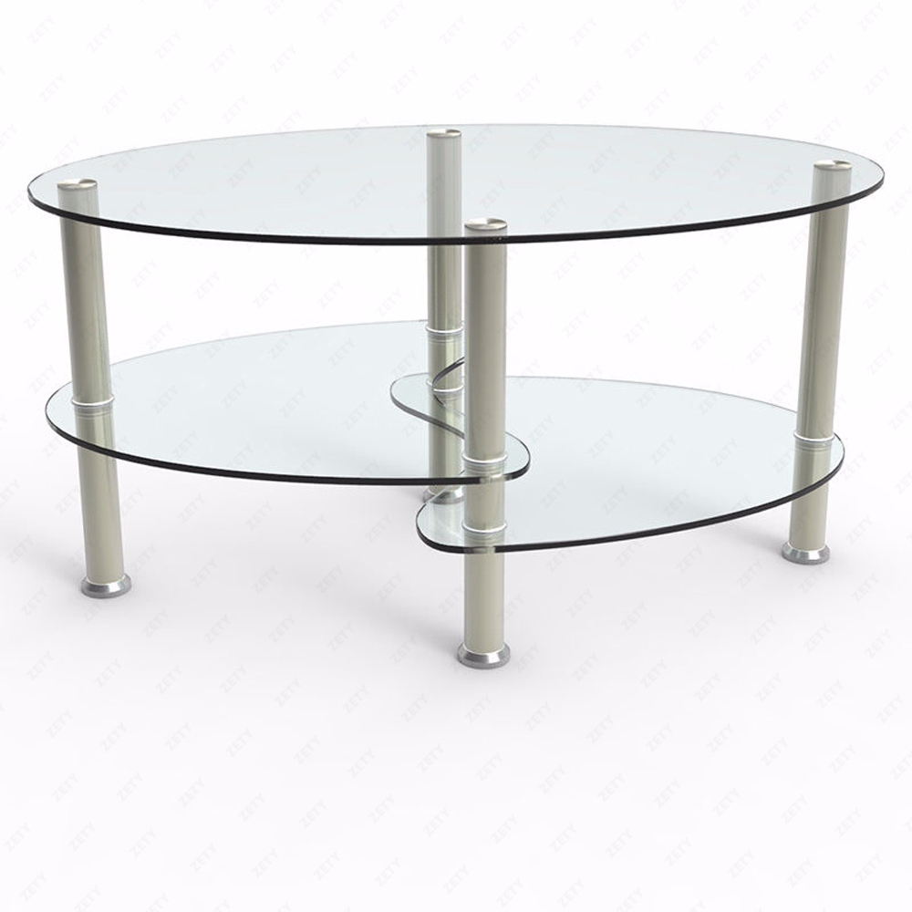 Clear Glass Coffee Table Oval Side Chrome Base W/Shelves