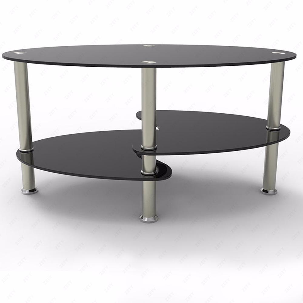 Coffee Table Glass Oval Side Shelves Chrome Base Living