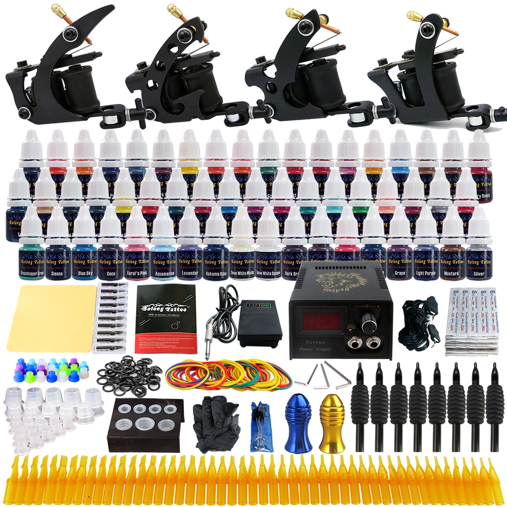 Solong tattoo kit 4 pro machine guns 54 inks power supply for Professional tattoo guns