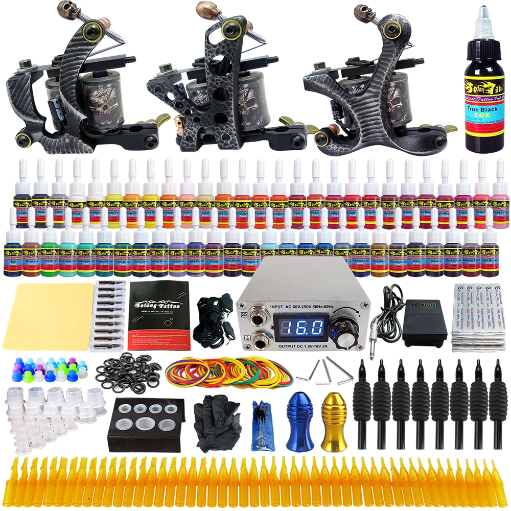 Solong tattoo kits 3 pro machine guns ink set power supply for Tattoo supplies ebay