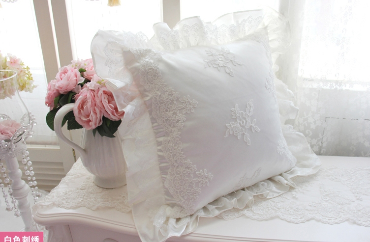 Ivory Lace Throw Pillow : French Country Shabby Chic Princess Ivory White Pillow Throw Cushion Cover*Lace eBay